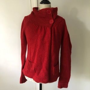 Topshop Cowl Turtleneck Red Knit Crochet Cardigan